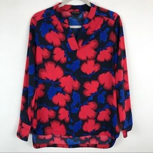 Banana Republic Red Blue Long Sleeve Floral Tunic
